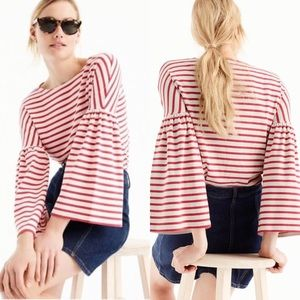 J.Crew Striped Bell Sleeves Blouse Top XS
